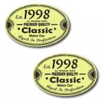PAIR Distressed Aged Established 1998 Aged To Perfection Oval Design Vinyl Car Sticker 70x45mm Each